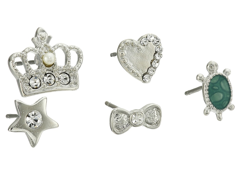 Betsey Johnson - Crown 5 Piece Stud Earring Set (Green) Earring