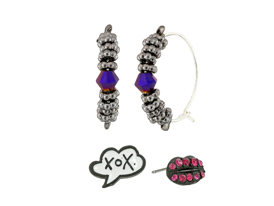 Betsey Johnson - Hoop And Stud Earring Set (Pink) Earring