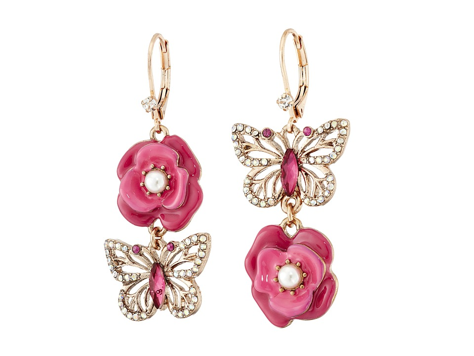 Betsey Johnson - Flower Butterfly Mismatch Earrings (Pink) Earring