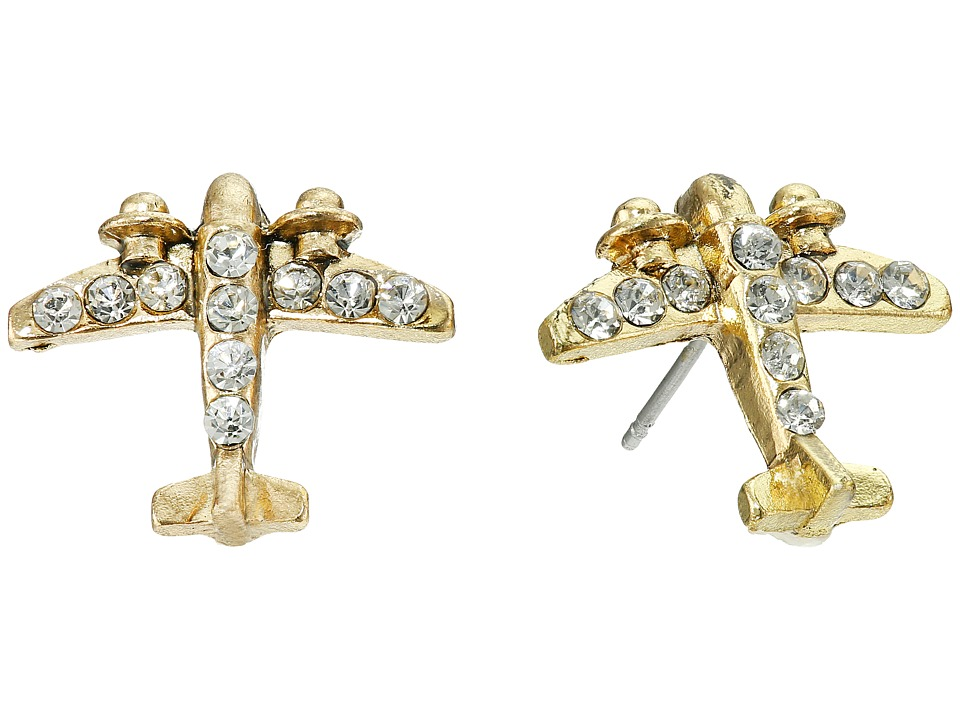 Betsey Johnson - Gold Plane Stud Earrings (Crystal) Earring