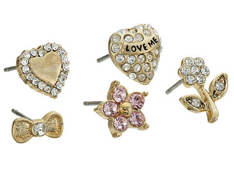 Betsey Johnson - Heart 5 Stud Earring Set (Crystal 4) Earring