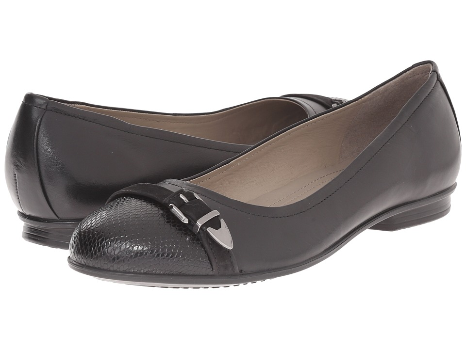 ECCO - Touch Ballerina Buckle (Black/Black) Women's Flat Shoes