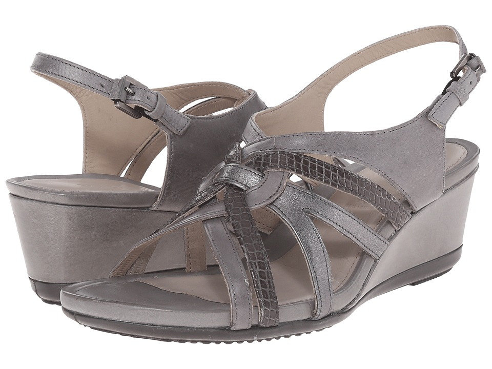 ECCO - Touch 45 Wedge Sandal (Titanium/Dark Shadow/Dark Shadow Metallic) Women's Wedge Shoes