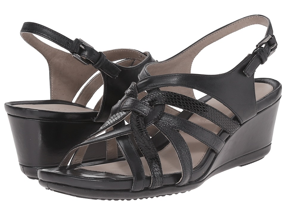 ECCO - Touch 45 Wedge Sandal (Black/Black) Women's Wedge Shoes