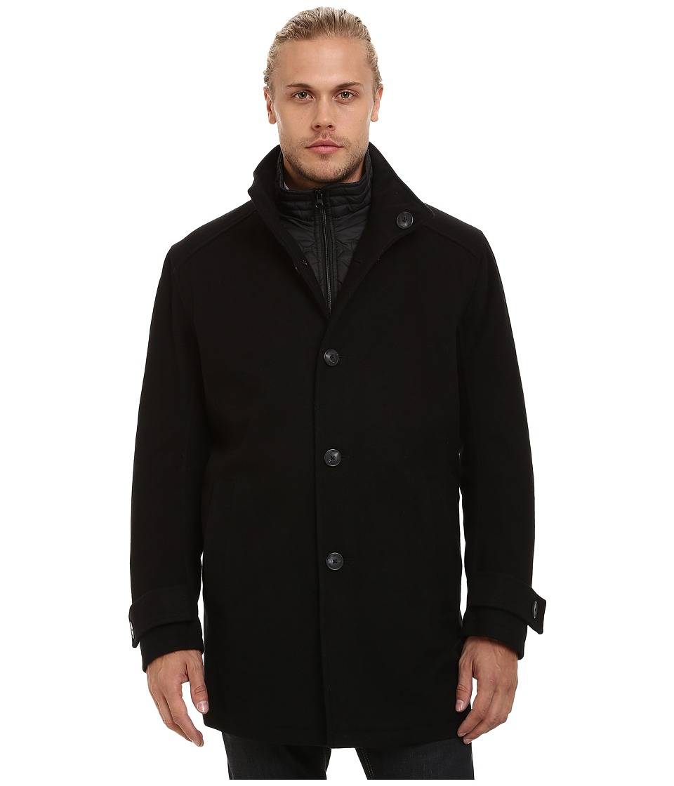Marc New York by Andrew Marc - Morningside Pressed Wool Car Coat w/ Removable Quilted Bib (Black) Men's Coat