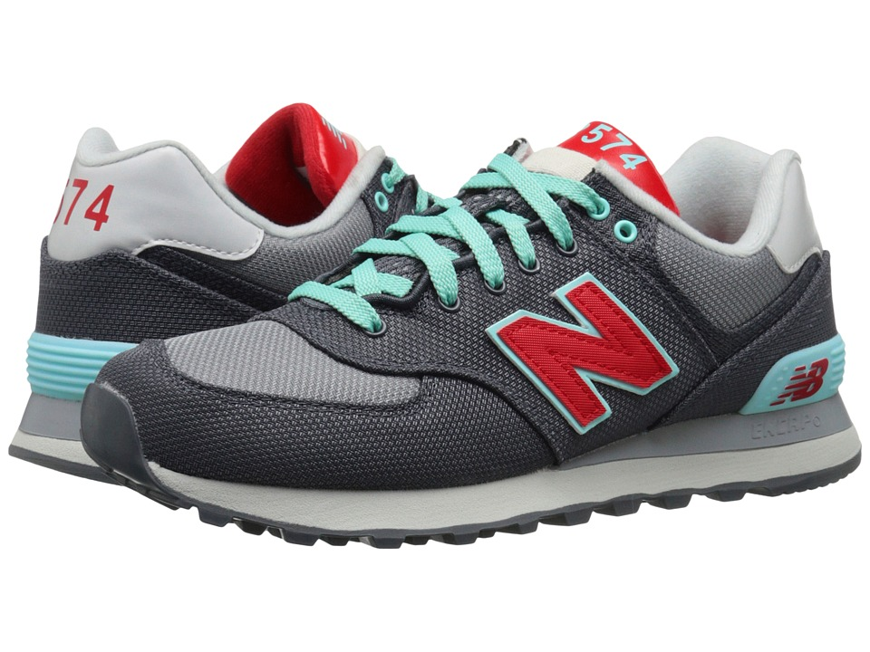 New Balance Classics - WL574 (Grey/Red Textile) Women's Lace up casual Shoes