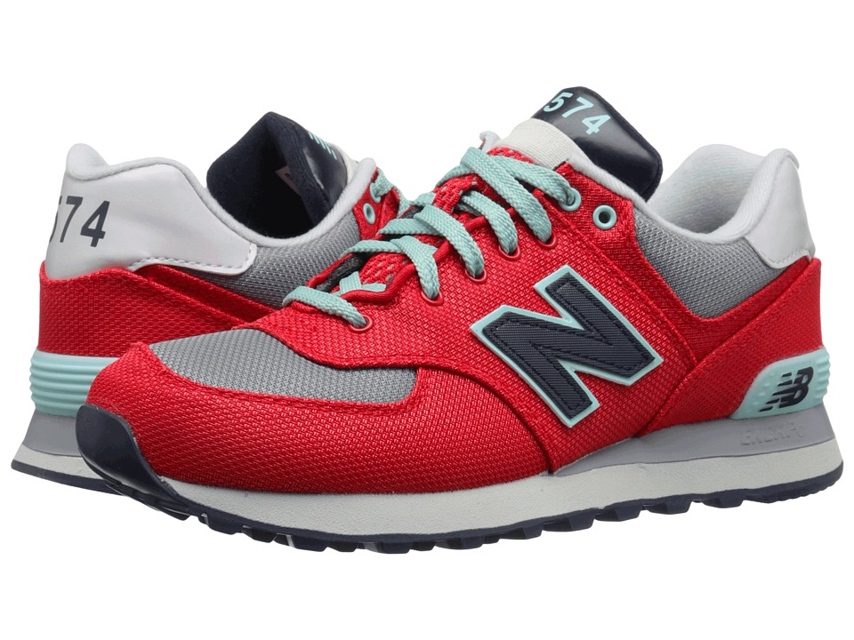 New Balance Classics - WL574 (Red/Grey Textile) Women's Lace up casual Shoes
