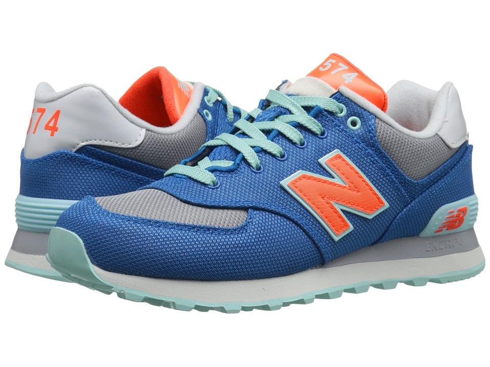 New Balance Classics WL574 (Blue/Orange Textile) Women
