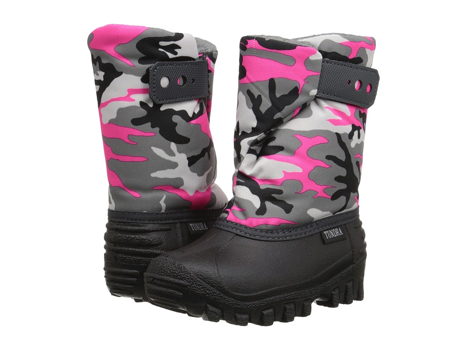 Tundra Boots Kids - Teddy (Toddler/Little Kid) (Black/Fuchsia/Camo) Girls Shoes