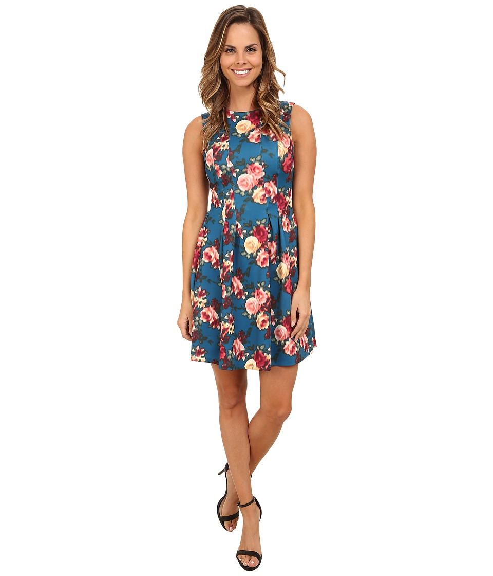 KUT from the Kloth - Caitlin Fit Flare (Teal/Fuchsia) Women's Dress