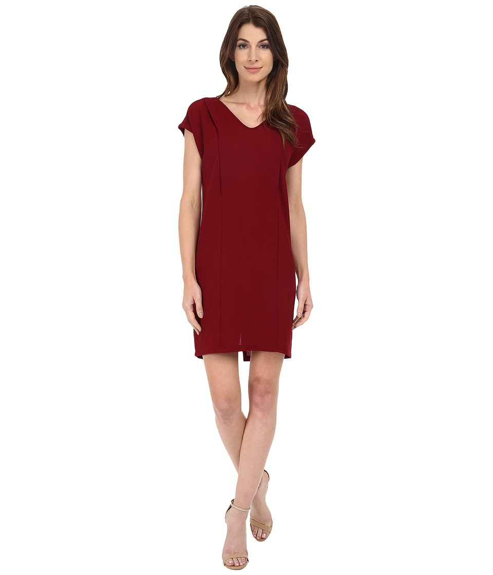 KUT from the Kloth - Cara V-Neck Dress (Burgundy) Women's Dress