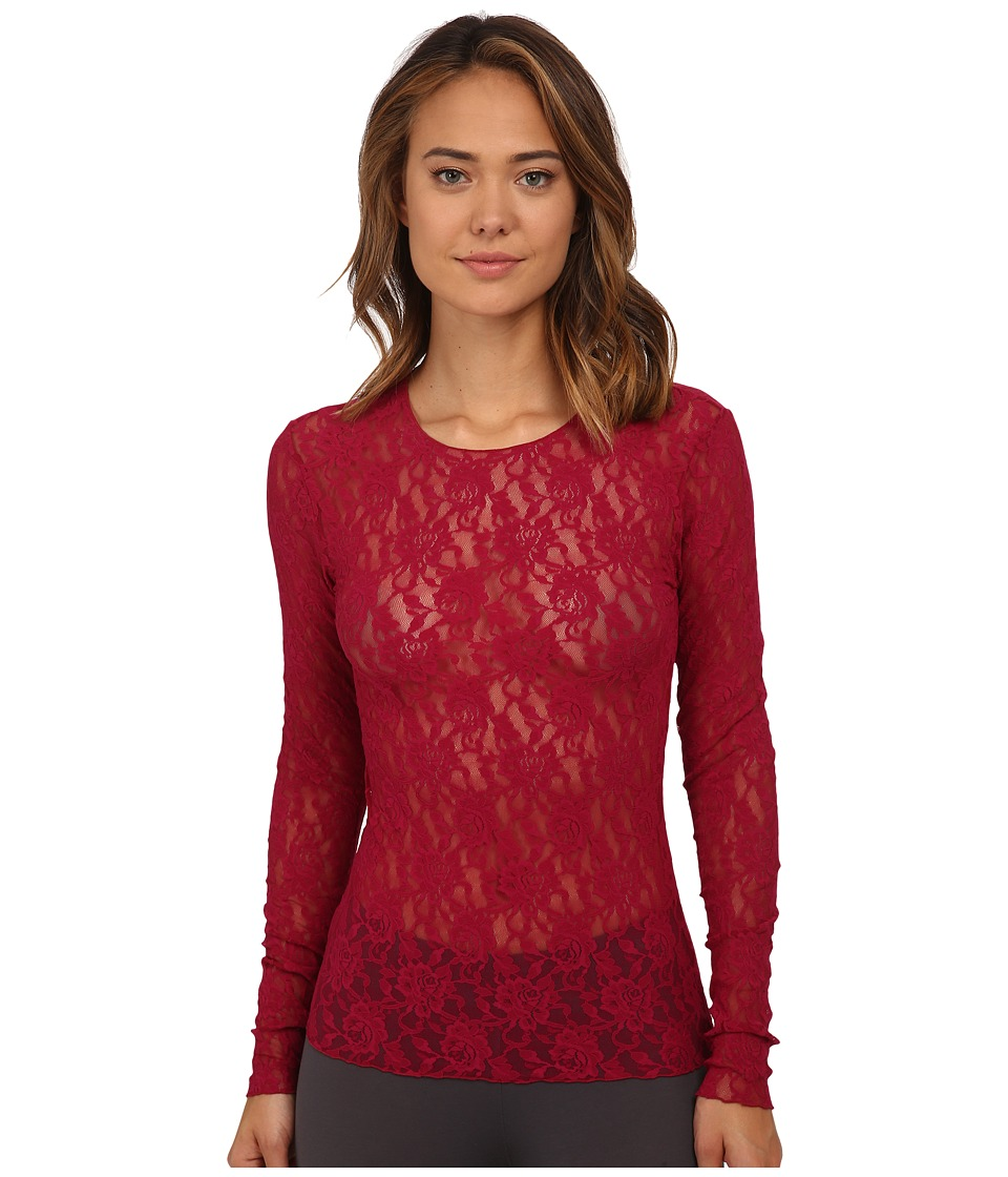 Hanky Panky - Signature Lace Unlined Long Sleeve Top (Cranberry) Women