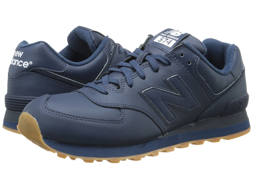 New Balance Classics - NB574 (Navy Leather) Men's Classic Shoes