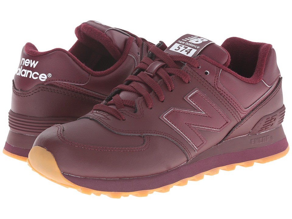 New Balance Classics - NB574 (Burgundy Leather) Men's Classic Shoes