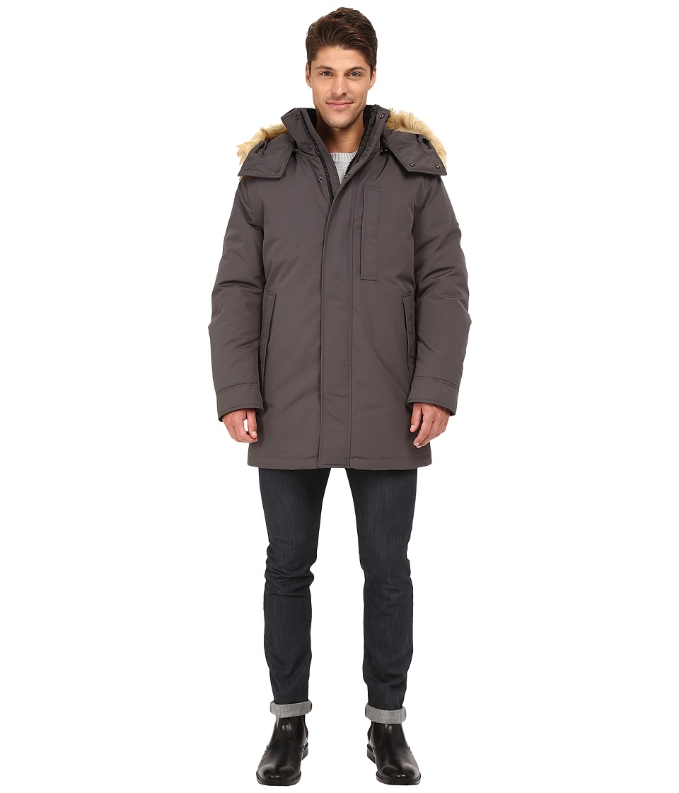 Marc New York by Andrew Marc - Niagra Down Filled Oxford Twill Parka w/ Faux Fur Trimmed Removable Hood (Steel) Men's Coat