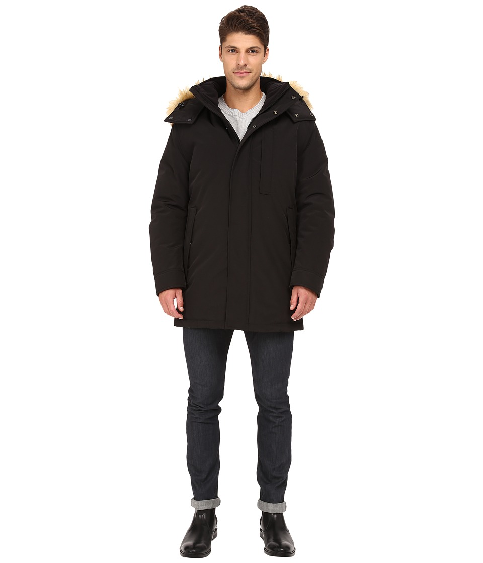 Marc New York by Andrew Marc - Niagra Down Filled Oxford Twill Parka w/ Faux Fur Trimmed Removable Hood (Black) Men's Coat