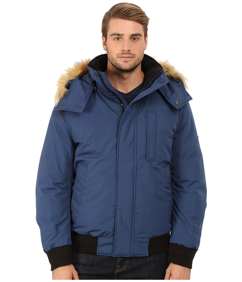 Marc New York by Andrew Marc - Bristol Down Filled Oxford Twill Bomber w/ Faux Fur Trimmed Removable Hood (Navy) Men's Coat