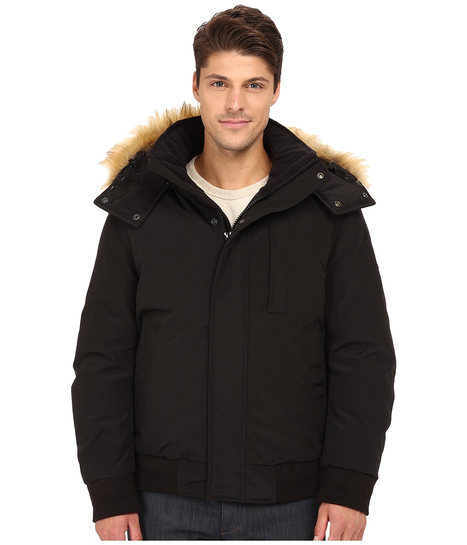 Marc New York by Andrew Marc - Bristol Down Filled Oxford Twill Bomber w/ Faux Fur Trimmed Removable Hood (Black) Men's Coat