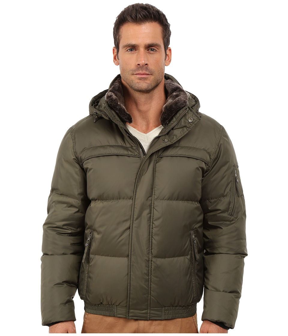 Marc New York by Andrew Marc Fauxmula Down Filled Bomber w/ Faux Fur Trimmed Collar and Removable Hood (Olive) Men