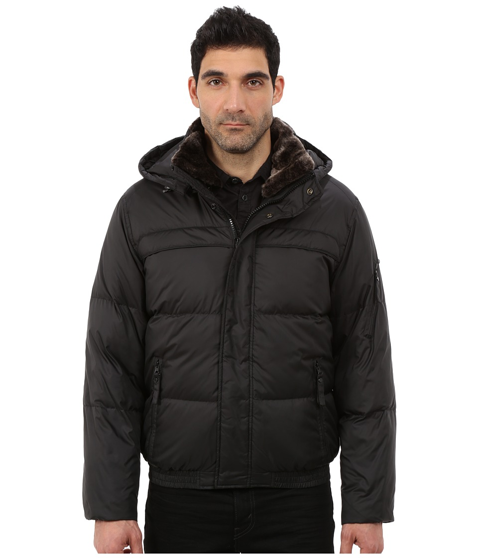 Marc New York by Andrew Marc Fauxmula Down Filled Bomber w/ Faux Fur Trimmed Collar and Removable Hood (Black) Men