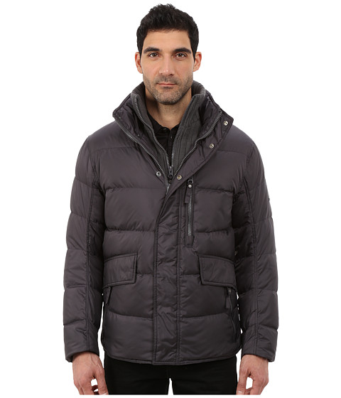Marc New York by Andrew Marc - Dumbo Down Filled Mid Length Jacket w/ Removable Chunky Knit Bib and Hidden Hood (Steel) Men's Coat