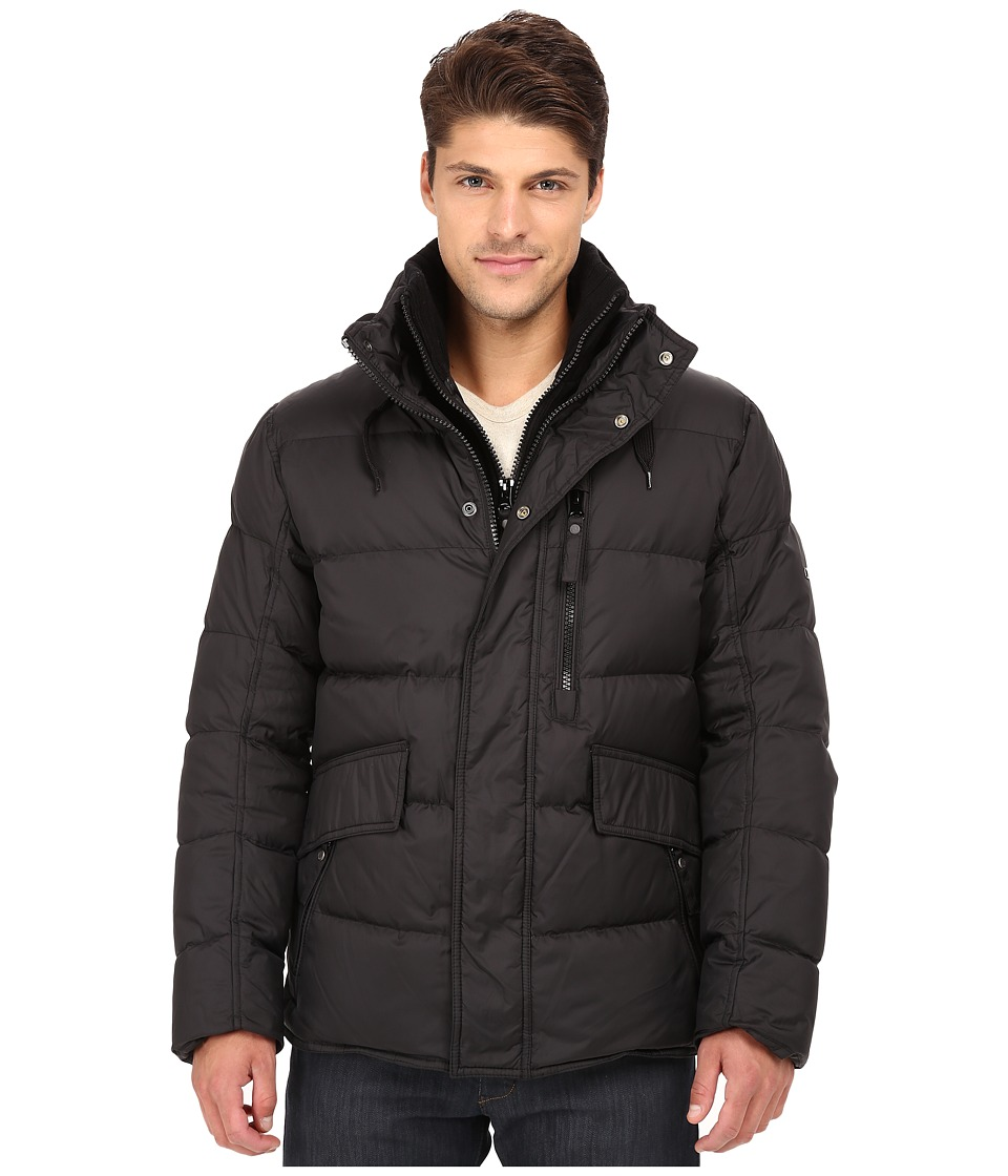Marc New York by Andrew Marc Dumbo Down Filled Mid Length Jacket w/ Removable Chunky Knit Bib and Hidden Hood (Black) Men