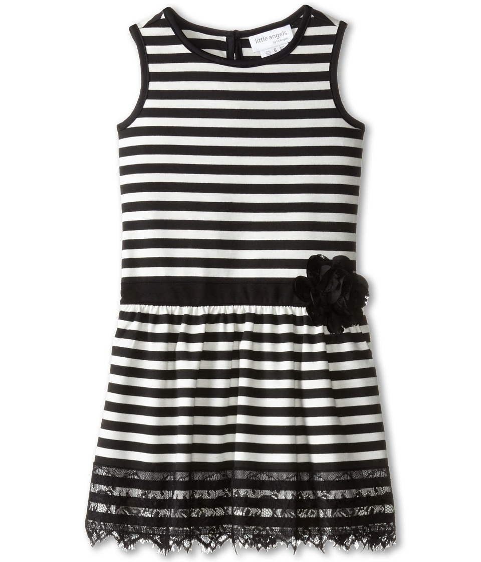 Us Angels - Striped Ponte Tank Dress w/ Ribbon Belt Lace Trim (Little Kids) (Ivory) Girl's Dress