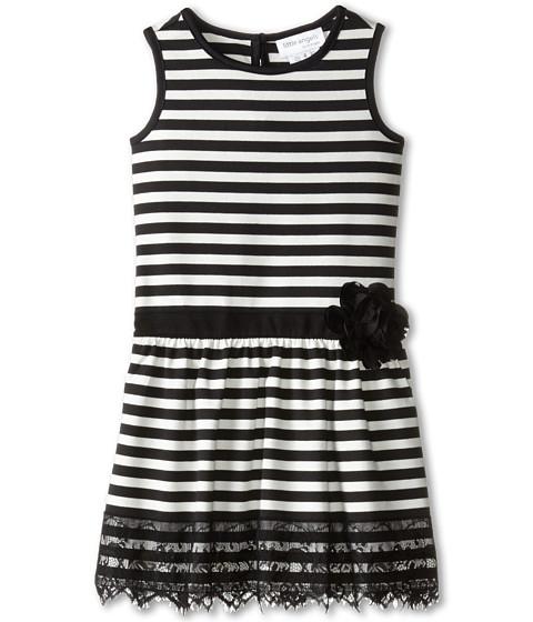 Us Angels - Striped Ponte Tank Dress w/ Ribbon Belt Lace Trim (Little Kids) (Ivory) Girl's Dress