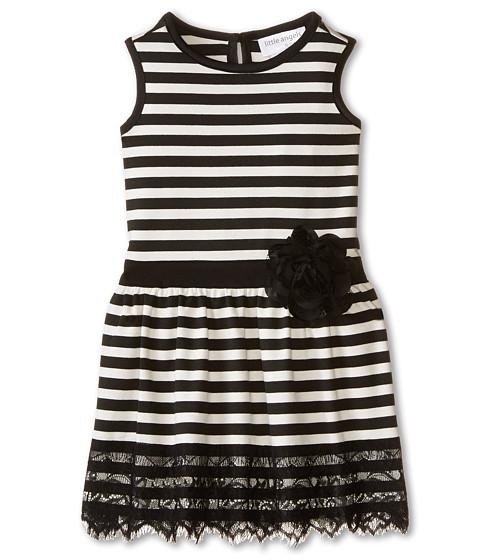 Us Angels - Striped Ponte Tank Dress w/ Ribbon Belt Lace Trim (Toddler) (Ivory) Girl