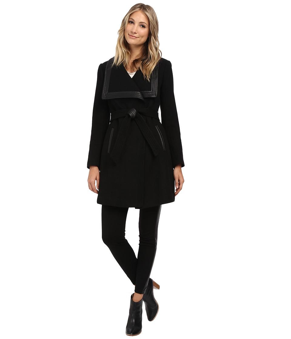 Jessica Simpson - Basketweave Wrap Coat (Black) Women's Coat