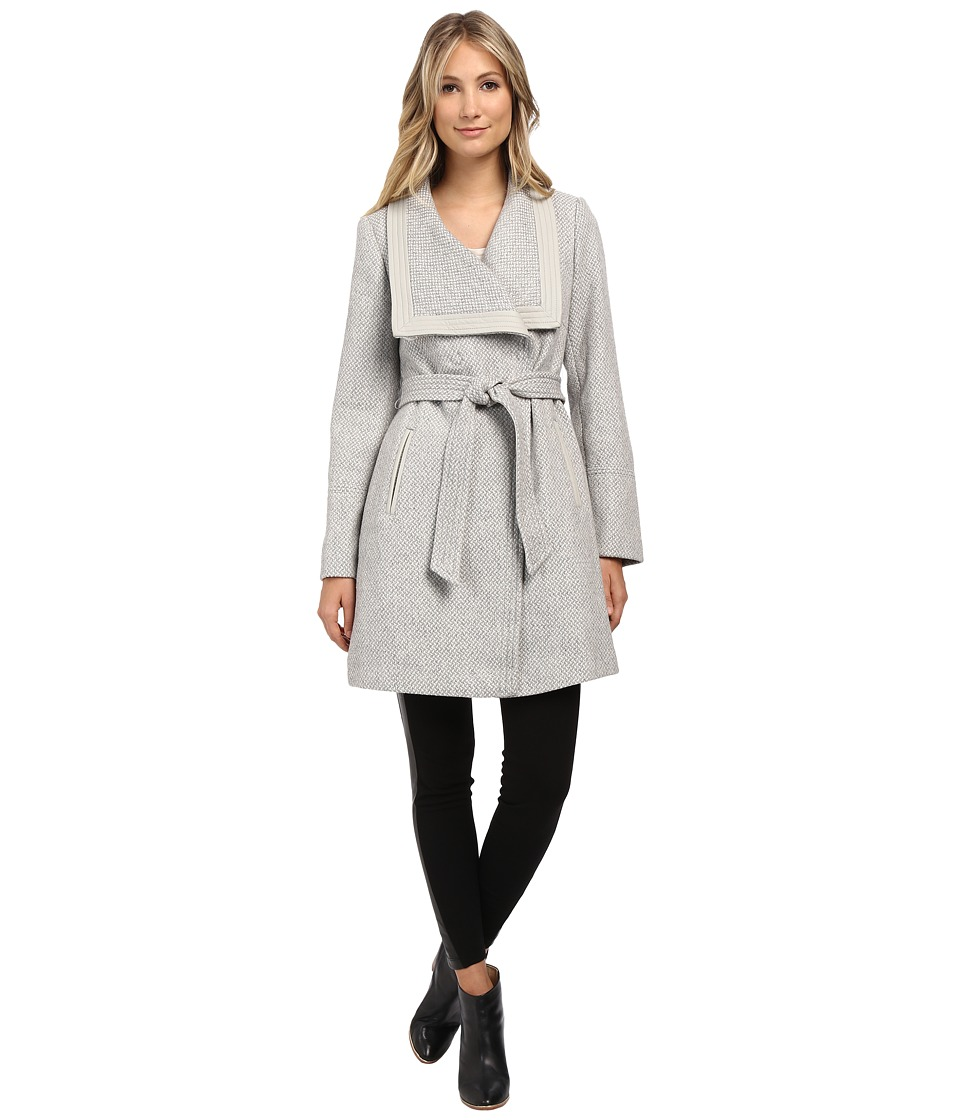 Jessica Simpson - Basketweave Wrap Coat (Grey) Women's Coat