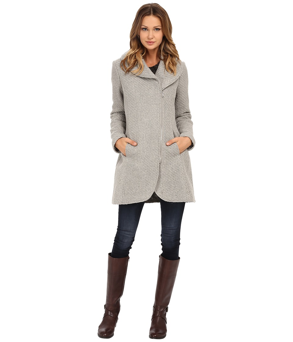 Jessica Simpson - Asymmetrical Braided Wool Coat with Shawl Collar (Grey) Women's Coat