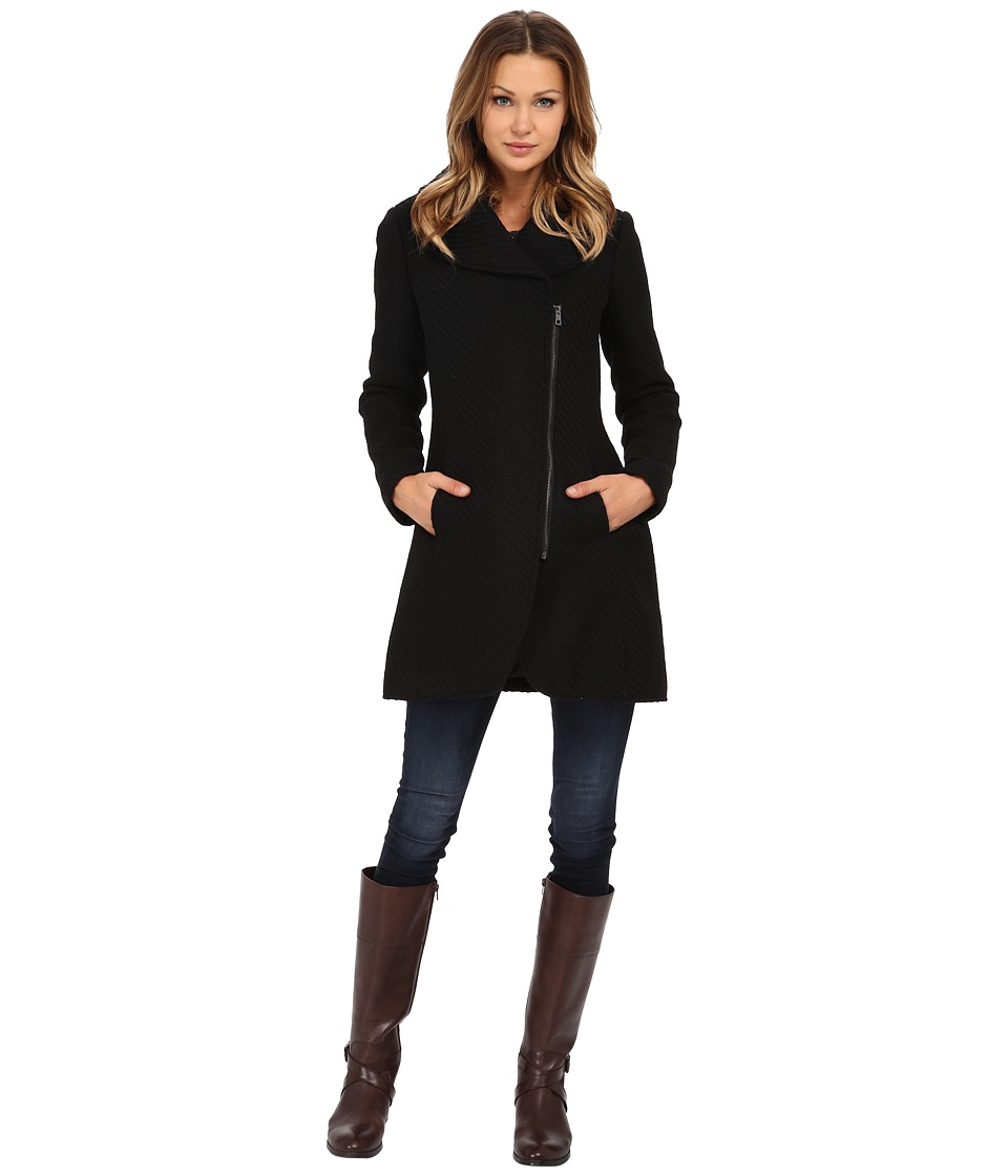Jessica Simpson - Asymmetrical Braided Wool Coat with Shawl Collar (Black) Women's Coat