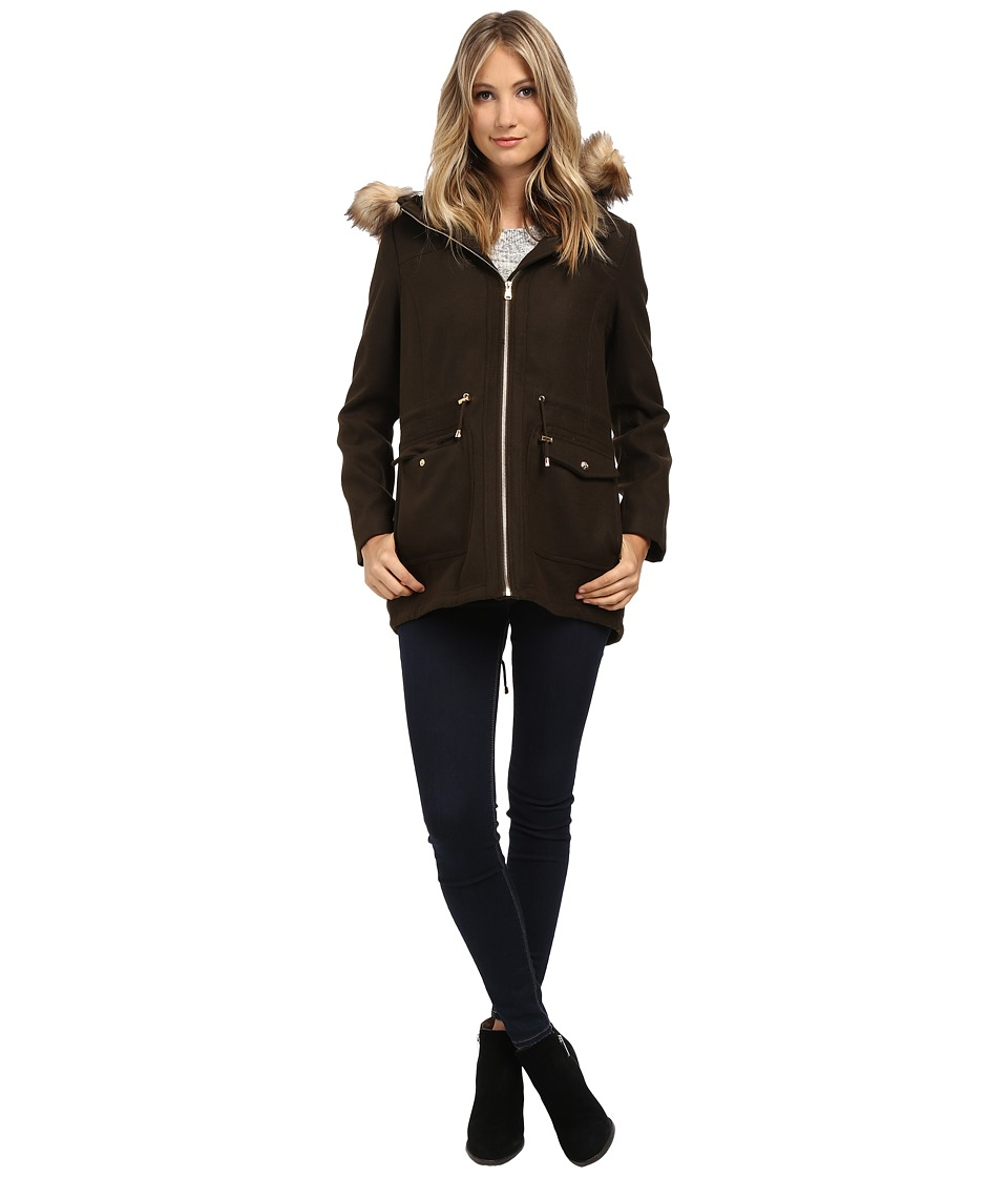 Jessica Simpson - Melton Touch Anorak Coat with Faux Fur (Olive) Women's Coat