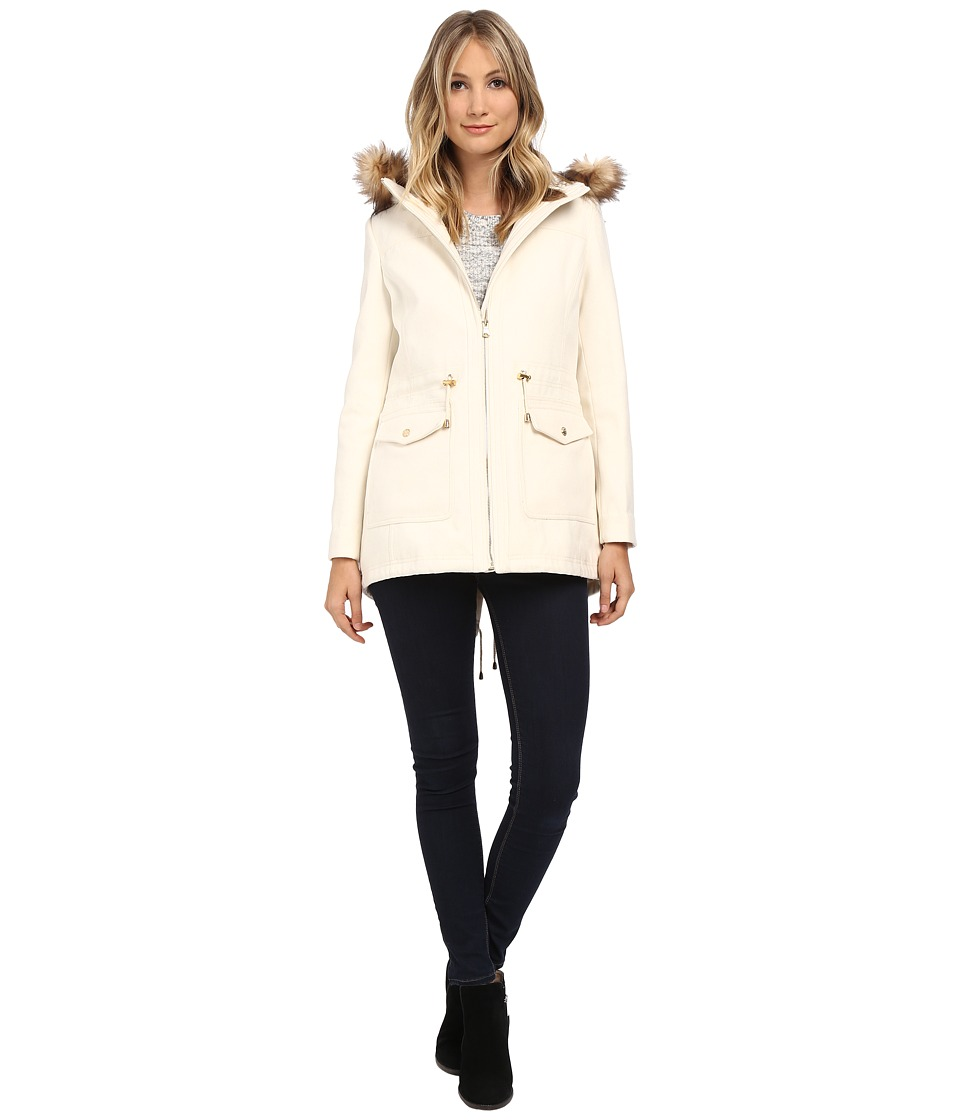 Jessica Simpson - Melton Touch Anorak Coat with Faux Fur (Ivory) Women's Coat