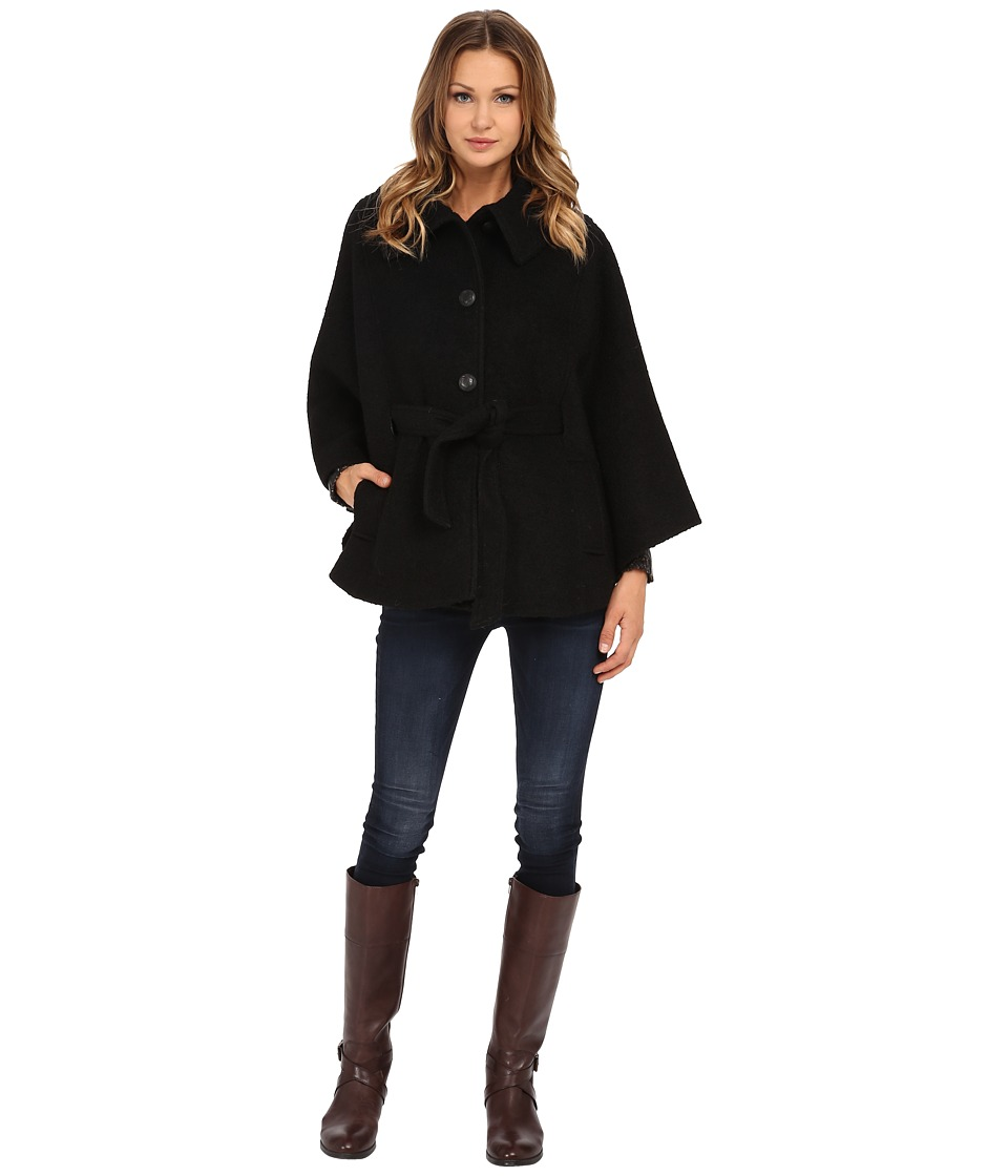 Jessica Simpson - Boucle Cape with Envelope Collar (Black) Women's Coat
