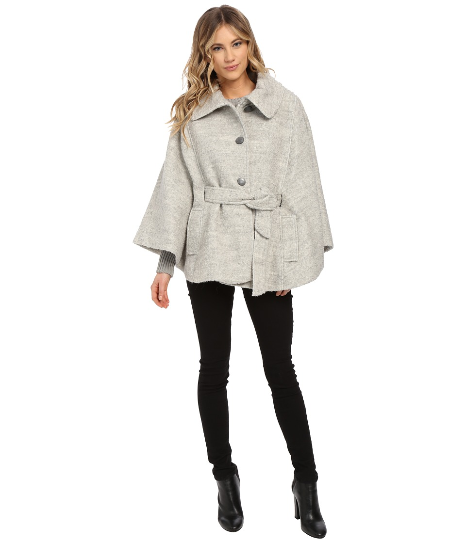 Jessica Simpson - Boucle Cape with Envelope Collar (Heather Grey) Women's Coat