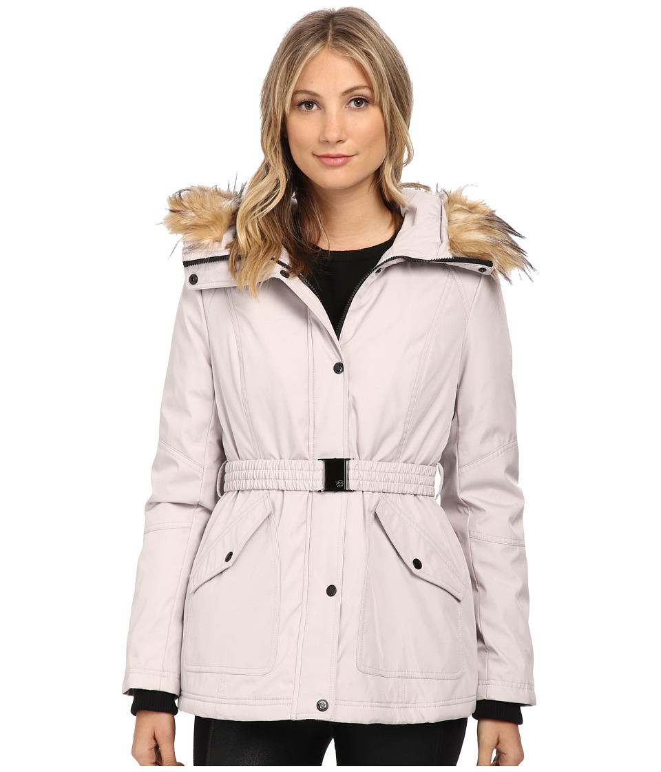 Jessica Simpson - Belted Polybonded with Faux Fur (Silver) Women's Coat