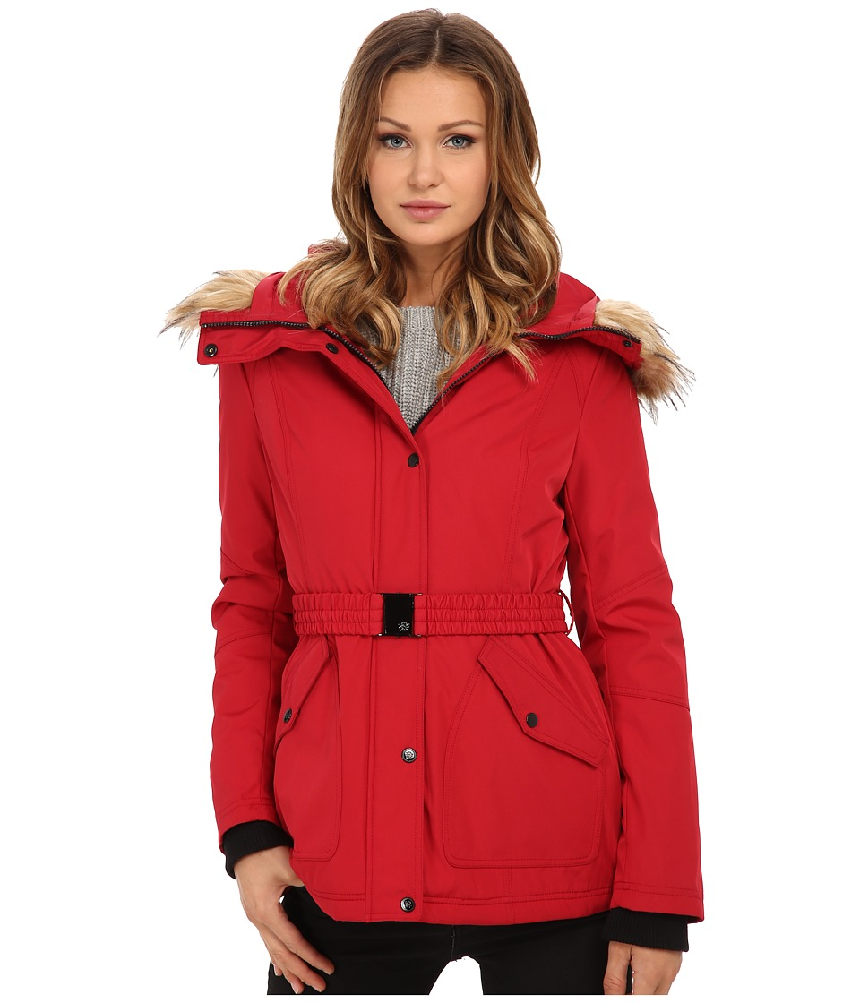 Jessica Simpson - Belted Polybonded with Faux Fur (Red) Women's Coat