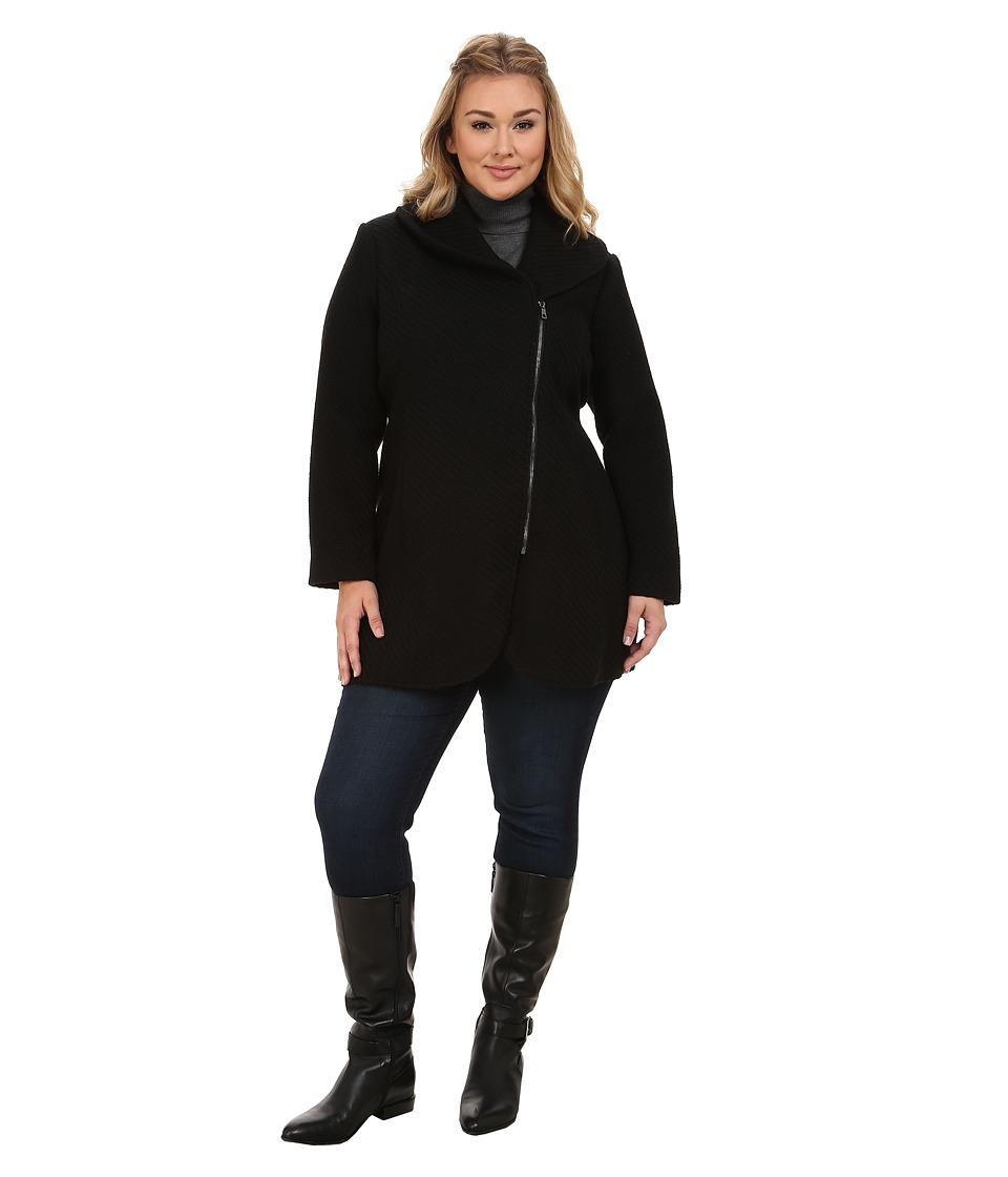 Jessica Simpson - Plus Size Asymmetrical Braided Wool Coat with Shawl Collar (Black) Women's Coat plus size,  plus size fashion plus size appare
