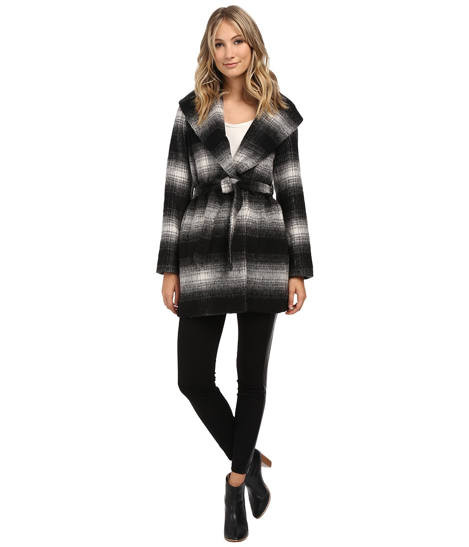 Jessica Simpson - Brushed Wool Wrap Coat (Black/White) Women's Coat