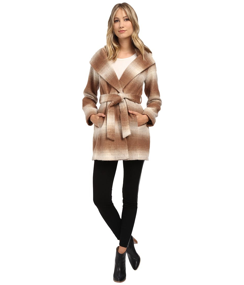 Jessica Simpson - Brushed Wool Wrap Coat (Camel/White) Women's Coat