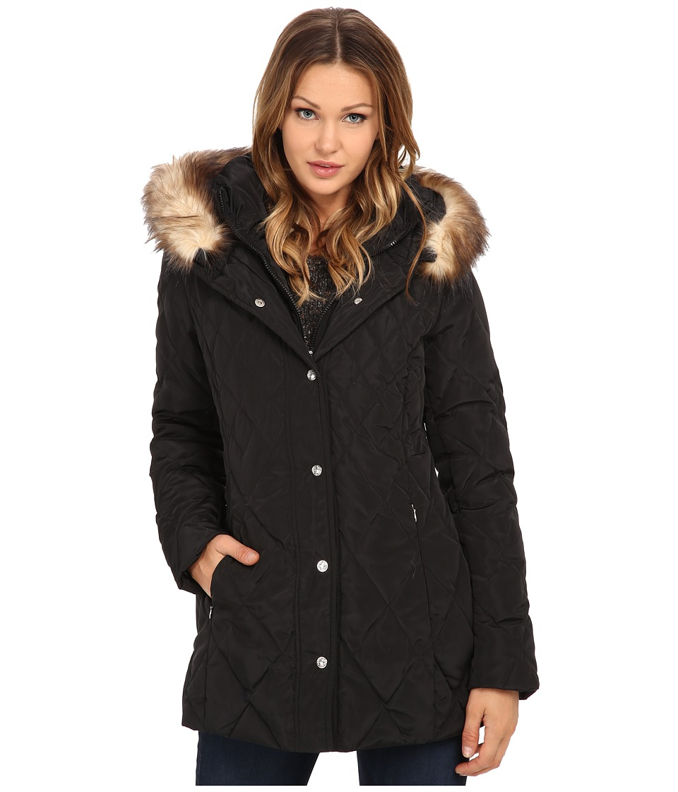 Jessica Simpson Quilted Down with Faux Fur Trim (Black) Women