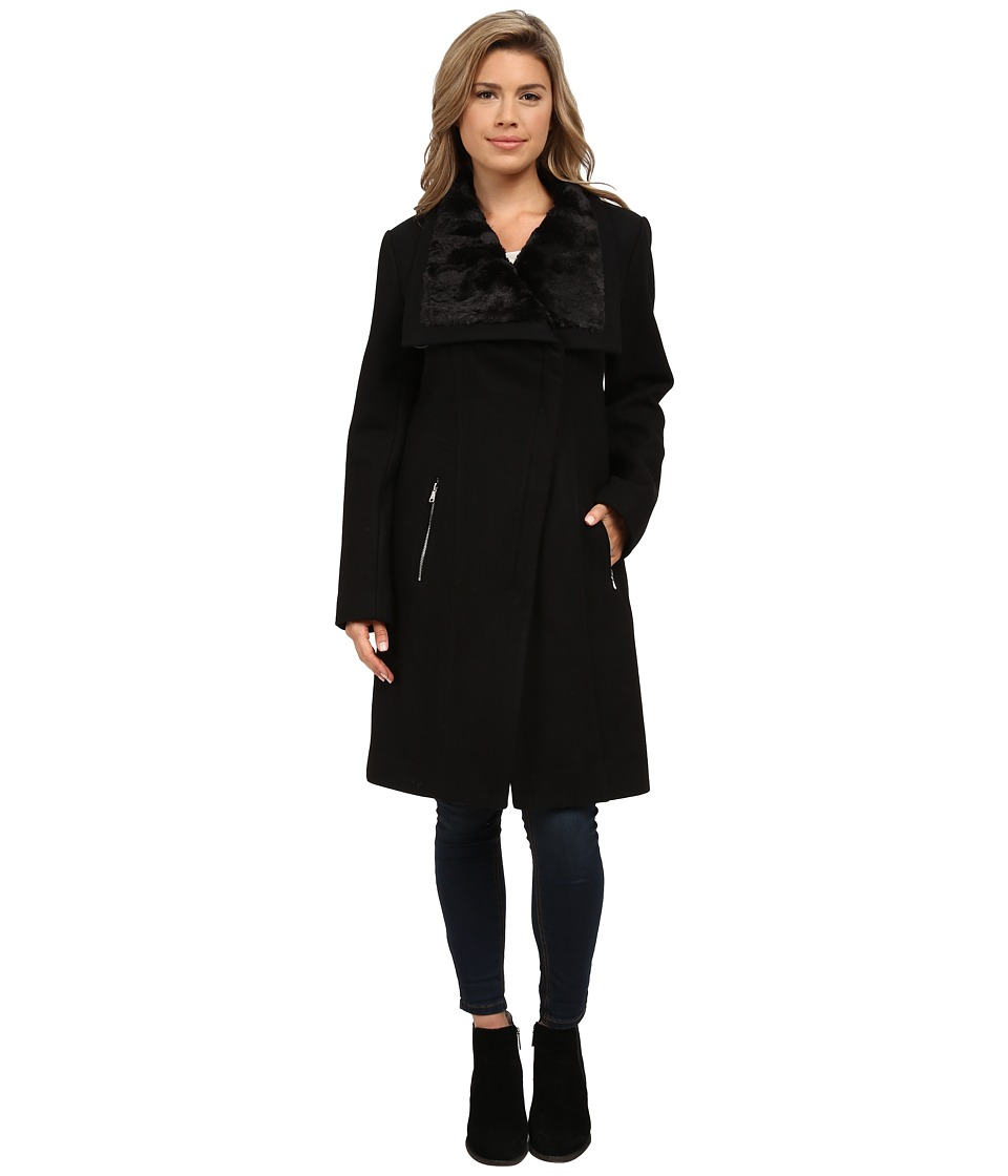 Jessica Simpson - Wool Coat with Faux Fur Collar (Black) Women's Coat