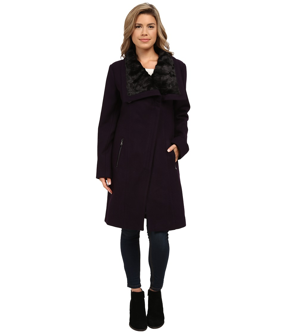 Jessica Simpson - Wool Coat with Faux Fur Collar (Amethyst) Women's Coat