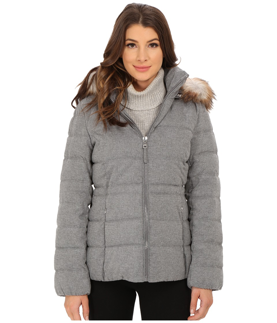 Jessica Simpson - Wool Touch Puffer with Faux Fur (Grey) Women's Clothing
