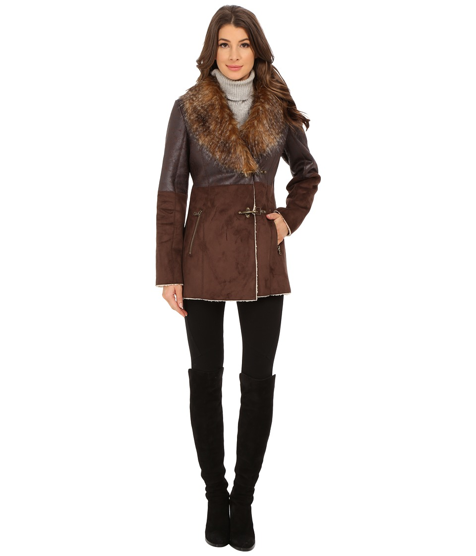 Jessica Simpson - Faux Shearling with Faux Fur Collar (Dark Brown) Women's Clothing