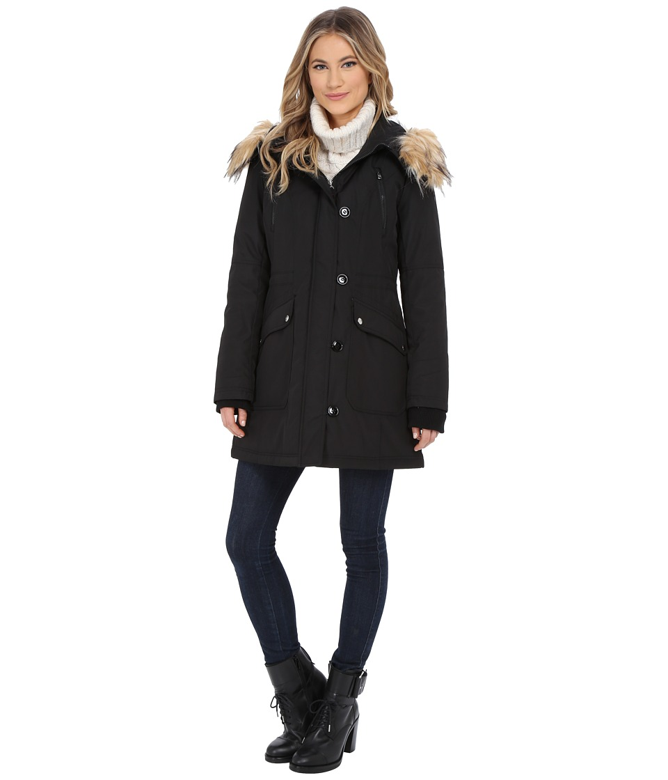 Jessica Simpson - Polybonded with Faux Fur (Black) Women's Clothing