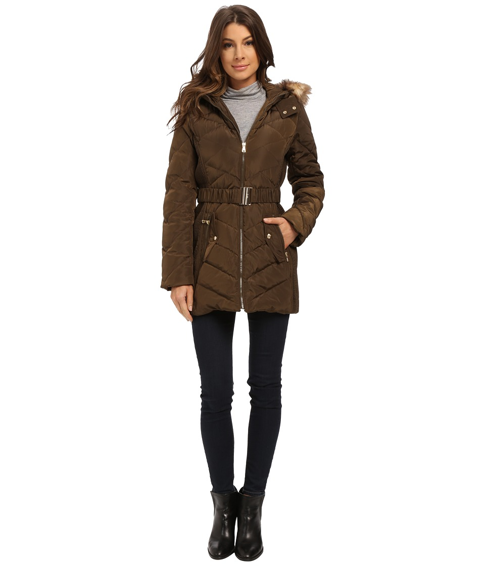 Jessica Simpson - Belted Down with Faux Fur Trim (Military) Women's Clothing
