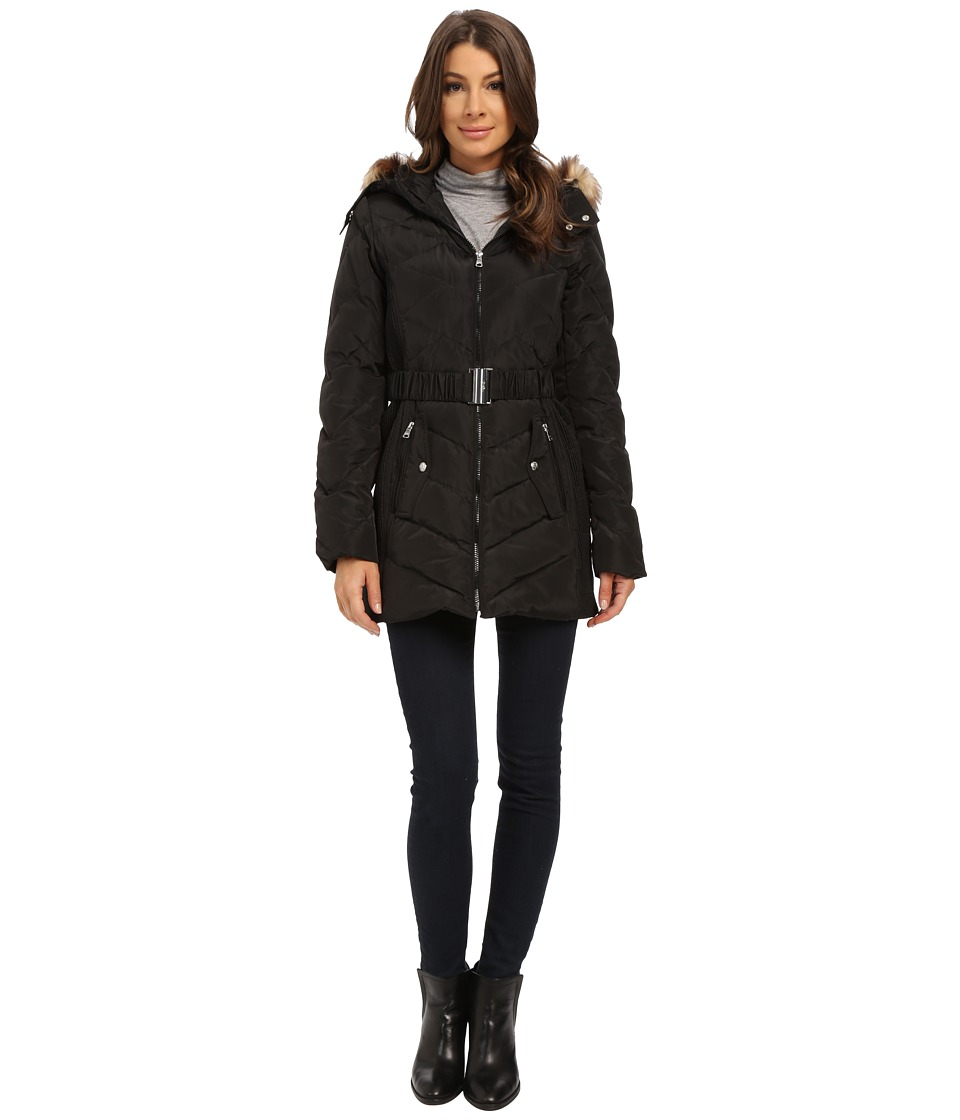Jessica Simpson - Belted Down with Faux Fur Trim (Black) Women's Clothing